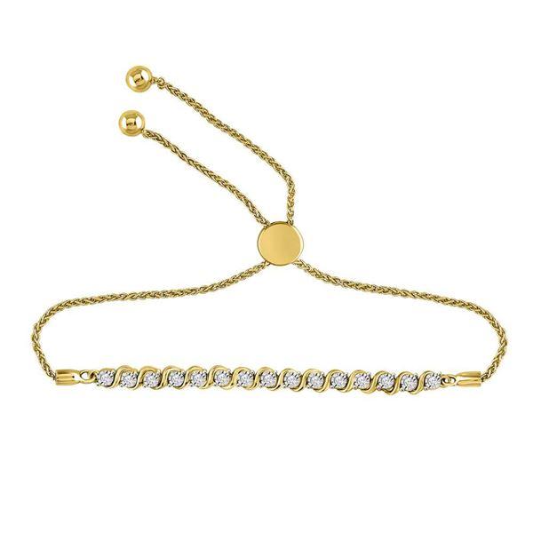Diamond Tennis Bolo Bracelet 1/5 Cttw 10kt Yellow Gold