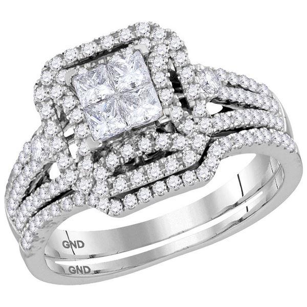 Princess Diamond Bridal Wedding Ring Band Set 1 Cttw 14kt White Gold