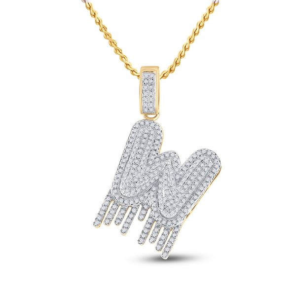 Mens Diamond W Dripping Letter Charm Pendant 3/4 Cttw 10kt Yellow Gold