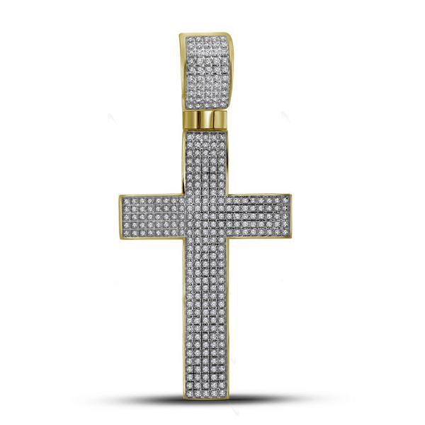 Mens Diamond Roman Cross Charm Pendant 7/8 Cttw 10kt Yellow Gold
