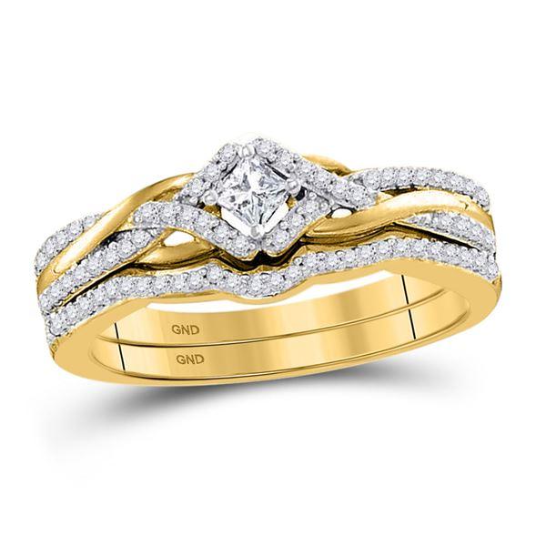 Princess Diamond Bridal Wedding Ring Band Set 1/3 Cttw 10kt Yellow Gold