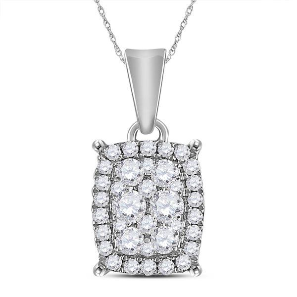 Diamond Rectangle Cluster Pendant 1/4 Cttw 14kt White Gold