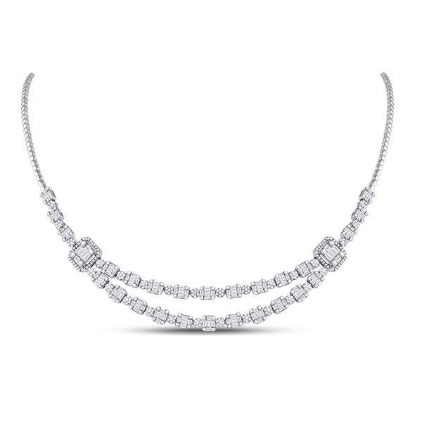 Baguette Diamond Square Cluster Necklace 4-7/8 Cttw 14kt White Gold