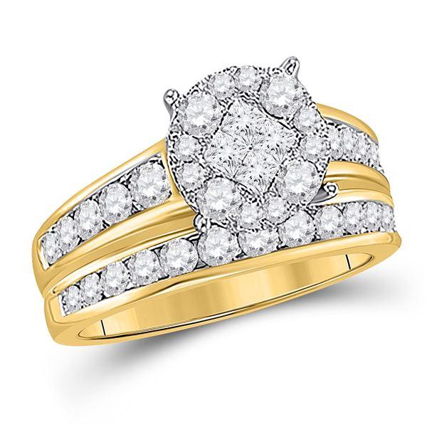 Diamond Cluster Bridal Wedding Ring Band Set 1/2 Cttw 14kt Yellow Gold