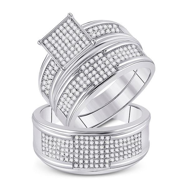 His Hers Diamond Square Matching Wedding Set 5/8 Cttw 10kt White Gold