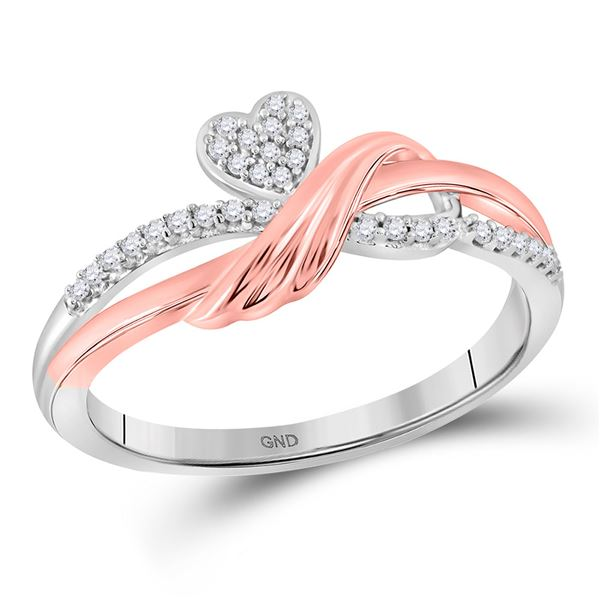 Diamond Heart Ring 1/10 Cttw 10kt Two-tone Gold