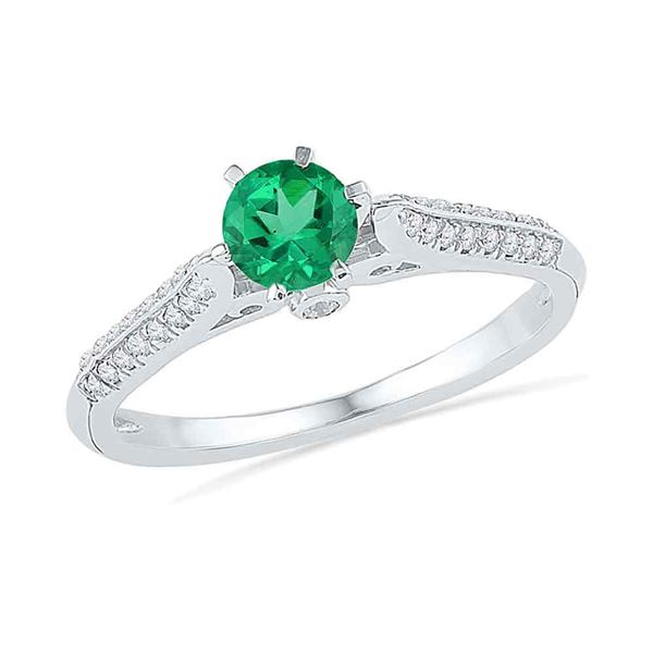 Lab-Created Emerald Solitaire Ring 5/8 Cttw 10kt White Gold