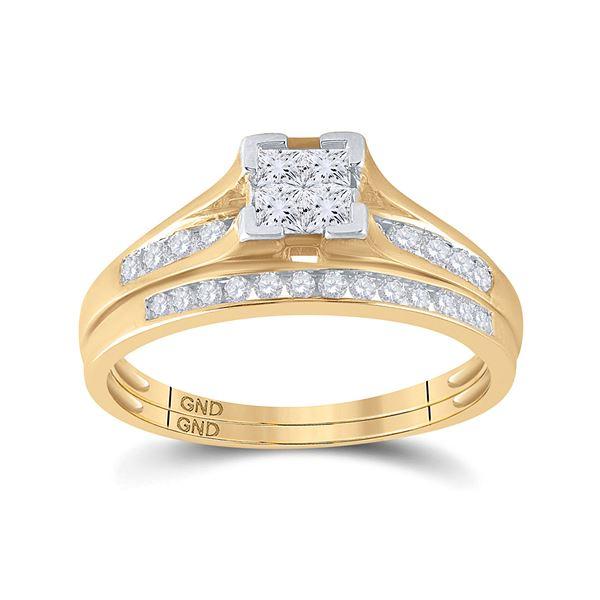 Princess Diamond Bridal Wedding Ring Band Set 1/2 Cttw 10kt Yellow Gold