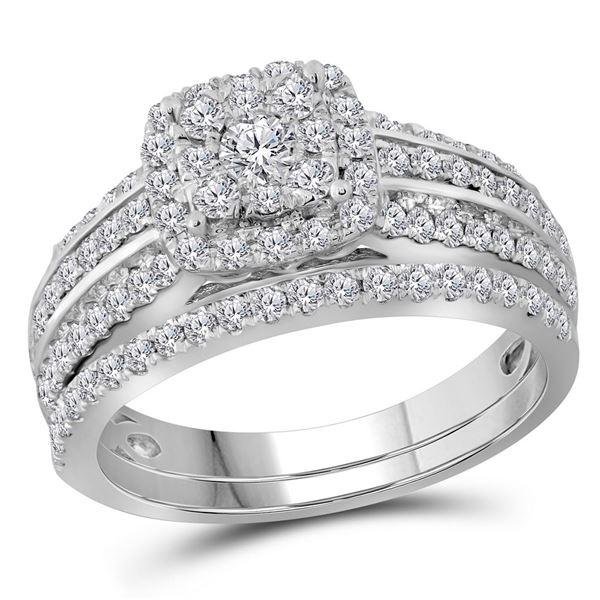 Diamond Double Halo Bridal Wedding Ring Band Set 1 Cttw 14kt White Gold