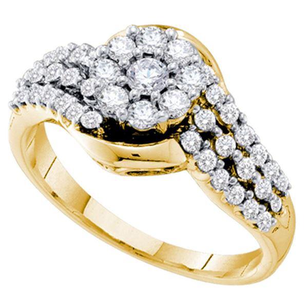 Diamond Flower Cluster Ring 3/4 Cttw 14kt Yellow Gold