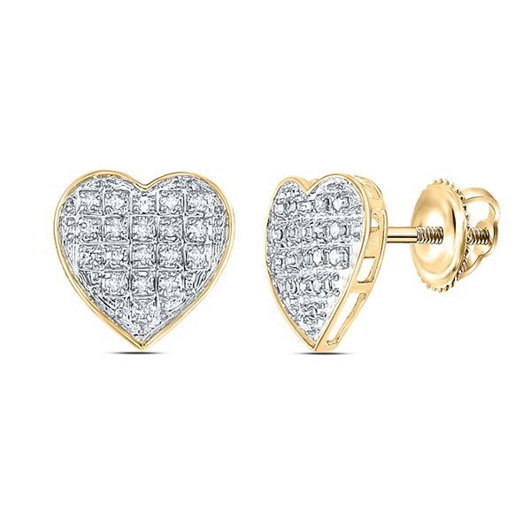 Diamond Heart Earrings 1/10 Cttw 10kt Yellow Gold