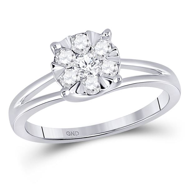 Diamond Flower Cluster Ring 1/2 Cttw 10kt White Gold