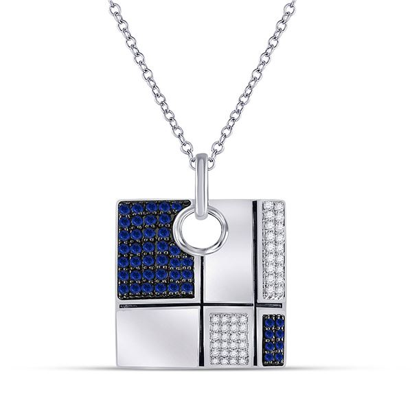 Blue Sapphire Fashion Square Necklace 3/4 Cttw 14kt White Gold