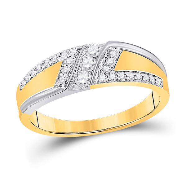 Mens Diamond 3-stone Wedding Ring 1/2 Cttw 10kt Two-tone Gold