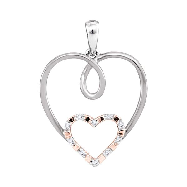 Diamond Rose-tone Double Nested Heart Pendant 1/20 Cttw 10kt White Gold