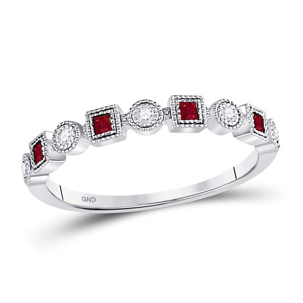 Princess Ruby Diamond Square Dot Milgrain Stackable Band Ring 1/8 Cttw 10kt White Gold