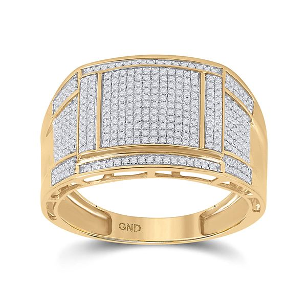 Mens Diamond Square Cluster Ring 5/8 Cttw 10kt Yellow Gold