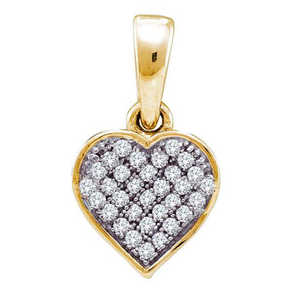 Diamond Heart Pendant 1/10 Cttw Yellow-tone Sterling Silver