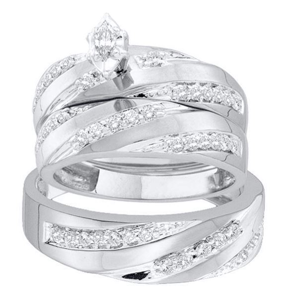 His Hers Marquise Diamond Solitaire Matching Wedding Set 3/4 Cttw 14kt White Gold