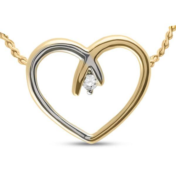 Diamond Heart Pendant .03 Cttw 10kt Two-tone Gold