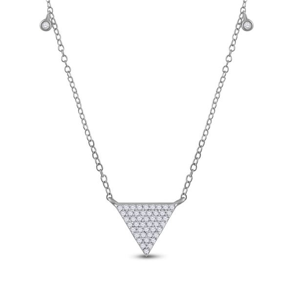Diamond Triangle Necklace 1/4 Cttw 10kt White Gold