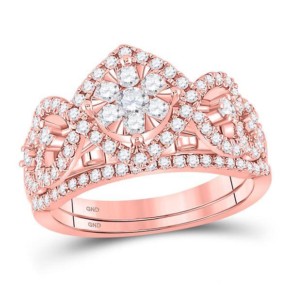 Diamond Bridal Wedding Ring Band Set 1 Cttw 14kt Rose Gold