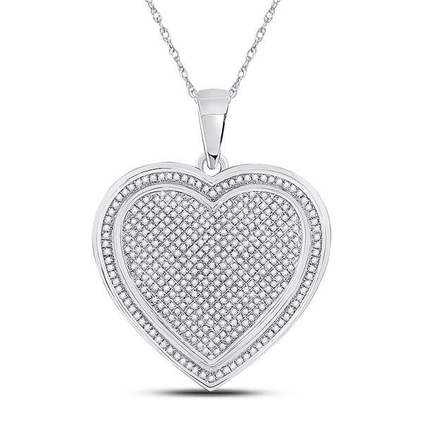 Diamond Composite Heart Pendant 1 Cttw 10kt White Gold