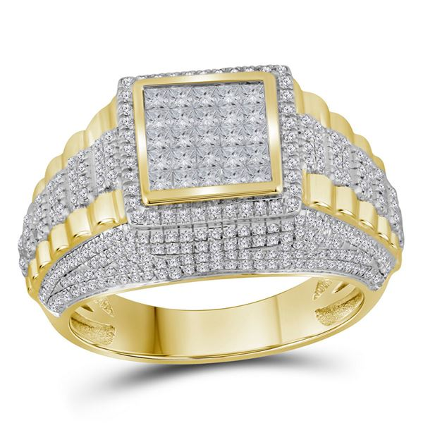Mens Diamond Square Cluster Ring 1-1/3 Cttw 10kt Yellow Gold