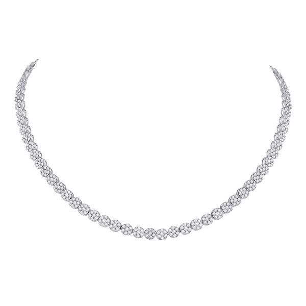 Diamond Cluster Necklace 11-5/8 Cttw 14kt White Gold
