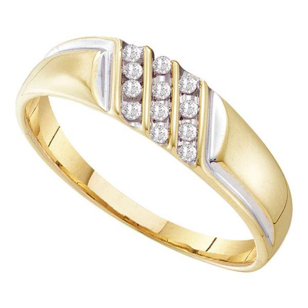 Mens Channel-set Diamond Diagonal Triple Row Wedding Band 1/8 Cttw 10kt Yellow Gold