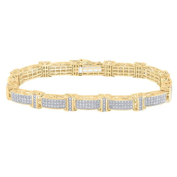 Mens Diamond Rectangle Link Bracelet 5-3/4 Cttw 10kt Yellow Gold