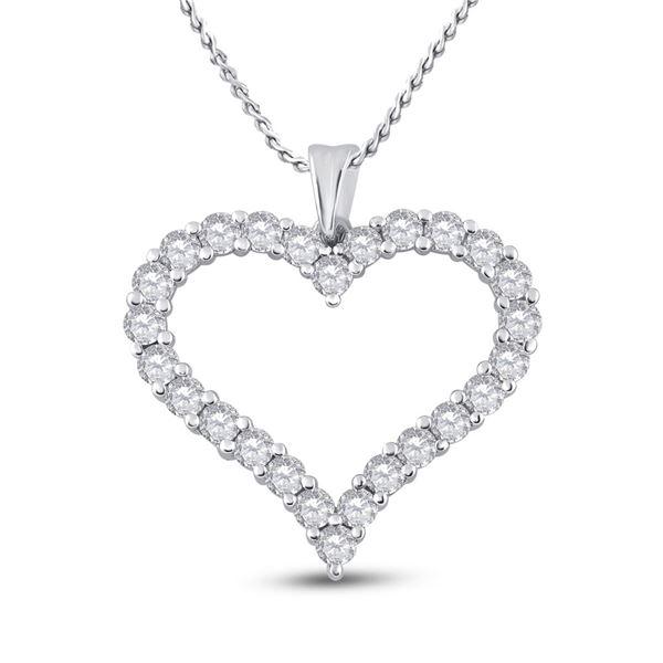 Diamond Outline Heart Pendant 2 Cttw 14kt White Gold
