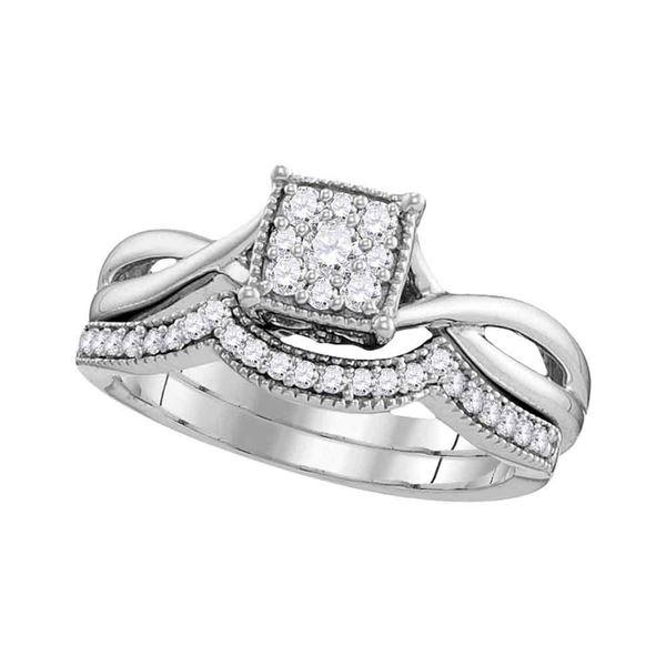 Diamond Flower Cluster Bridal Wedding Ring Band Set 1/3 Cttw 10k White Gold
