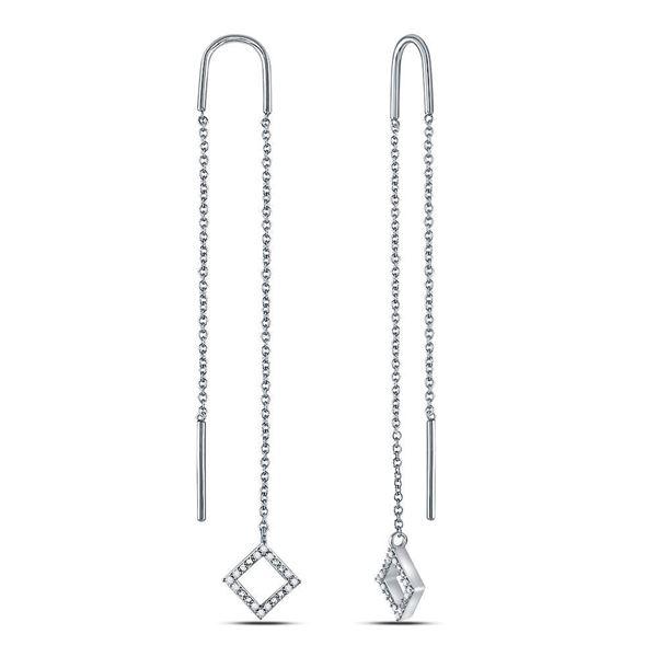 Diamond Threader Square Dangle Earrings 1/10 Cttw 10kt White Gold