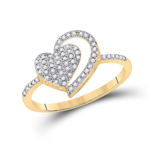 Diamond Heart Ring 1/5 Cttw 10kt Yellow Gold