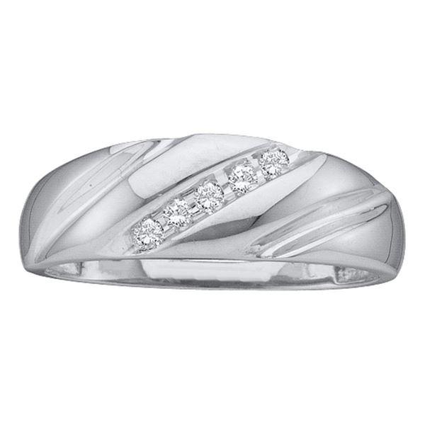 Mens Diamond Wedding Band Ring 1/10 Cttw 10kt White Gold
