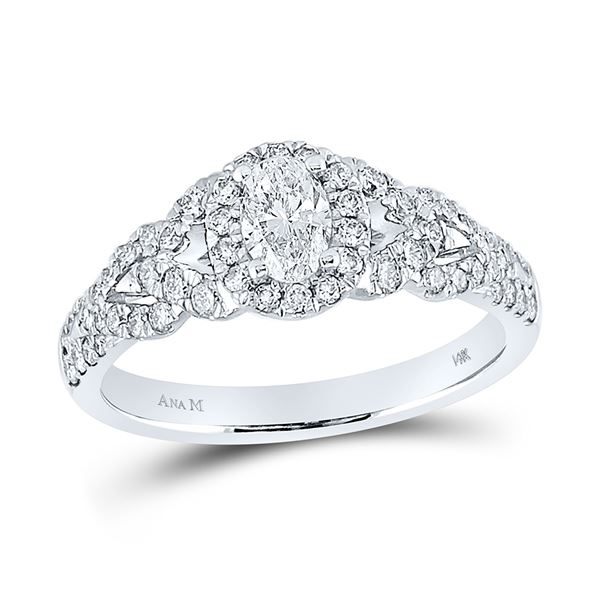 Oval Diamond Solitaire Bridal Wedding Engagement Ring 1 Cttw 14kt White Gold