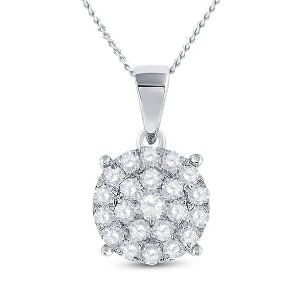 Diamond Cluster Pendant 2 Cttw 10kt White Gold