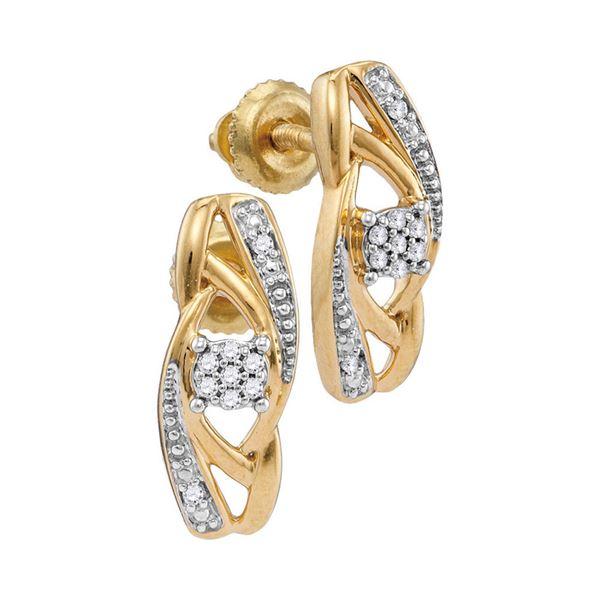 Diamond Vertical Flower Cluster Earrings 1/20 Cttw 10kt Yellow Gold