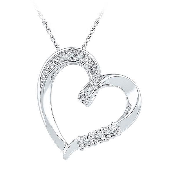 Diamond Heart Pendant .03 Cttw Sterling Silver