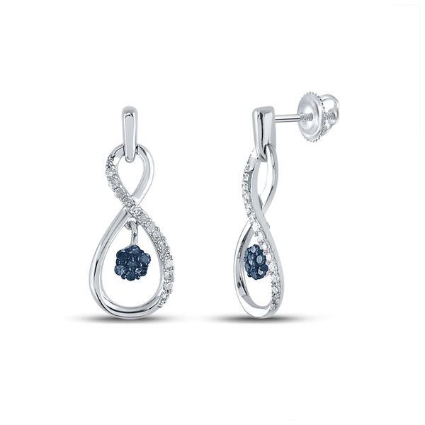 Blue Color Enhanced Diamond Infinity Dangle Earrings 1/4 Cttw Sterling Silver