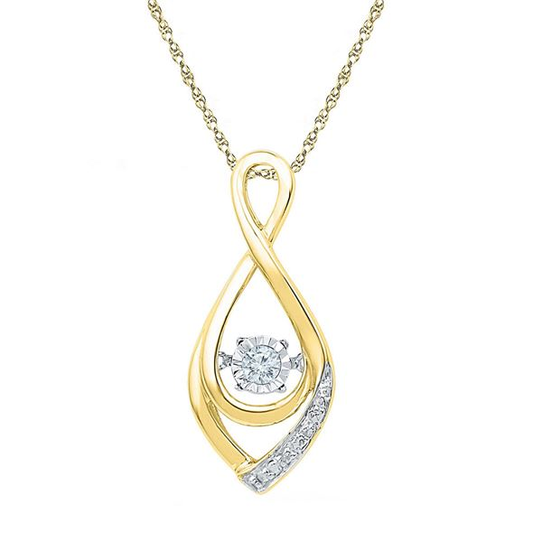 Diamond Moving Twinkle Solitaire Teardrop Pendant 1/20 Cttw 10kt Yellow Gold