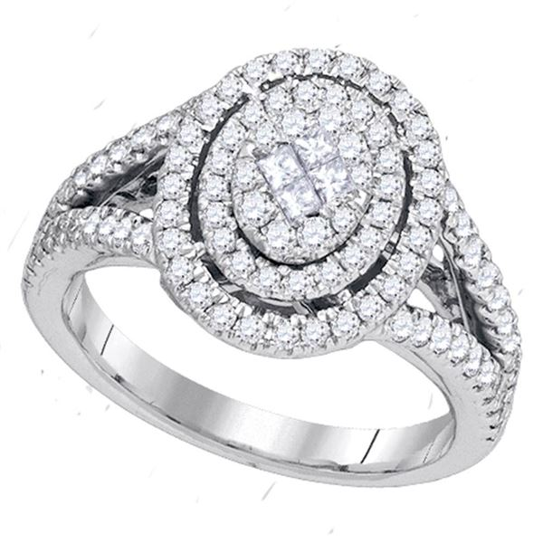 Princess Diamond Oval Cluster Bridal Wedding Engagement Ring 1 Cttw 14kt White Gold