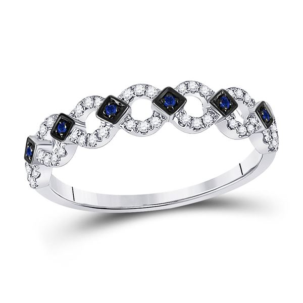 Lab-Created Blue Sapphire Band Ring 1/6 Cttw 10kt White Gold