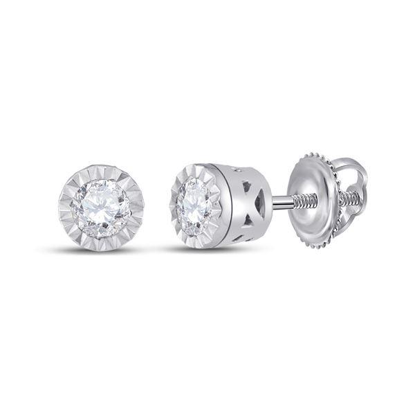 Diamond Solitaire Stud Earrings 1/4 Cttw 10kt White Gold