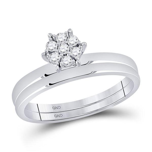 Diamond Cluster Bridal Wedding Ring Band Set 1/6 Cttw 10kt White Gold
