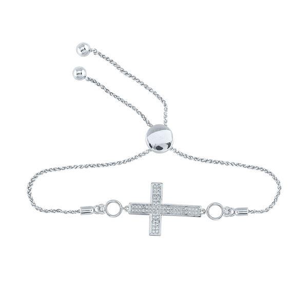 Diamond Cross Religious Bolo Bracelet 1/20 Cttw Sterling Silver