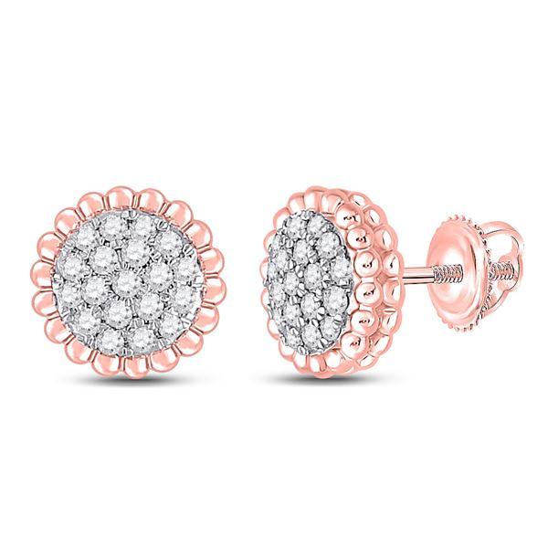 Diamond Flower Cluster Earrings 1/4 Cttw 10kt Rose Gold