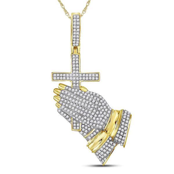 Mens Diamond Praying Hands Cross Charm Pendant 7/8 Cttw 10kt Yellow Gold