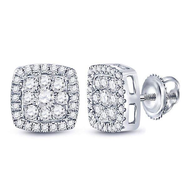 Diamond Square Cluster Earrings 3/4 Cttw 14kt White Gold